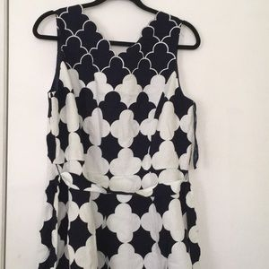 Talbots Navy and White Woven Cotton Dress Sz 14
